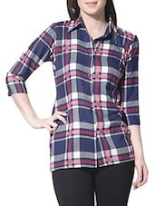 Blue chequered crepe shirt -  online shopping for Shirts