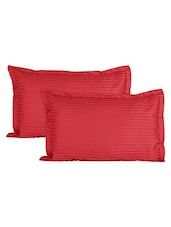 Ahmedabad Cotton Luxurious Sateen Striped Pillow Cover / Case Set (2 Pcs) 300 Thread Count -  Tomato Red -  online shopping for pillow covers