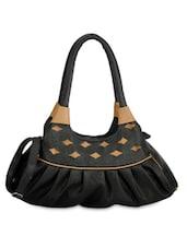 Black Leatherette Handbag With Cutwork - By