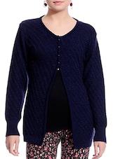 Navy Blue Woollen Round Neck Cardigan - By