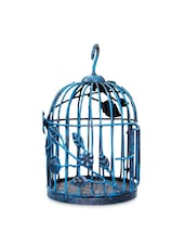 Victorian Style Wrought Iron Blue Bird Cage - By