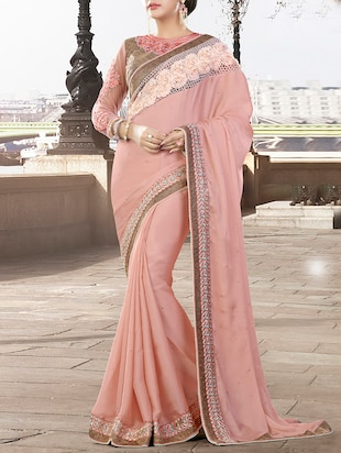 pink georgette embroidered saree -  online shopping for Sarees