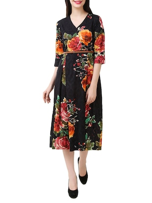 Multicolored cotton belted dress -  online shopping for Dresses