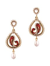 Maroon Studded Pearl Drop Earrings - By