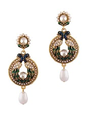 Green Peacock Studded Pearl Drop Earrings - By