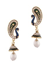 Green And Blue Peacock Studded Pearl Drop Earrings - By