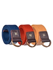 Pack Of 3 Multi Colored Canvas Belt - By - 12890412