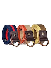 Pack Of 3 Multi Colored Canvas Belt - By - 12890469