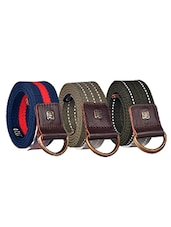 Pack Of 3 Multi Colored Canvas Belt - By - 12890472
