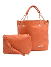 Orange Faux Leather Tote Bag - By