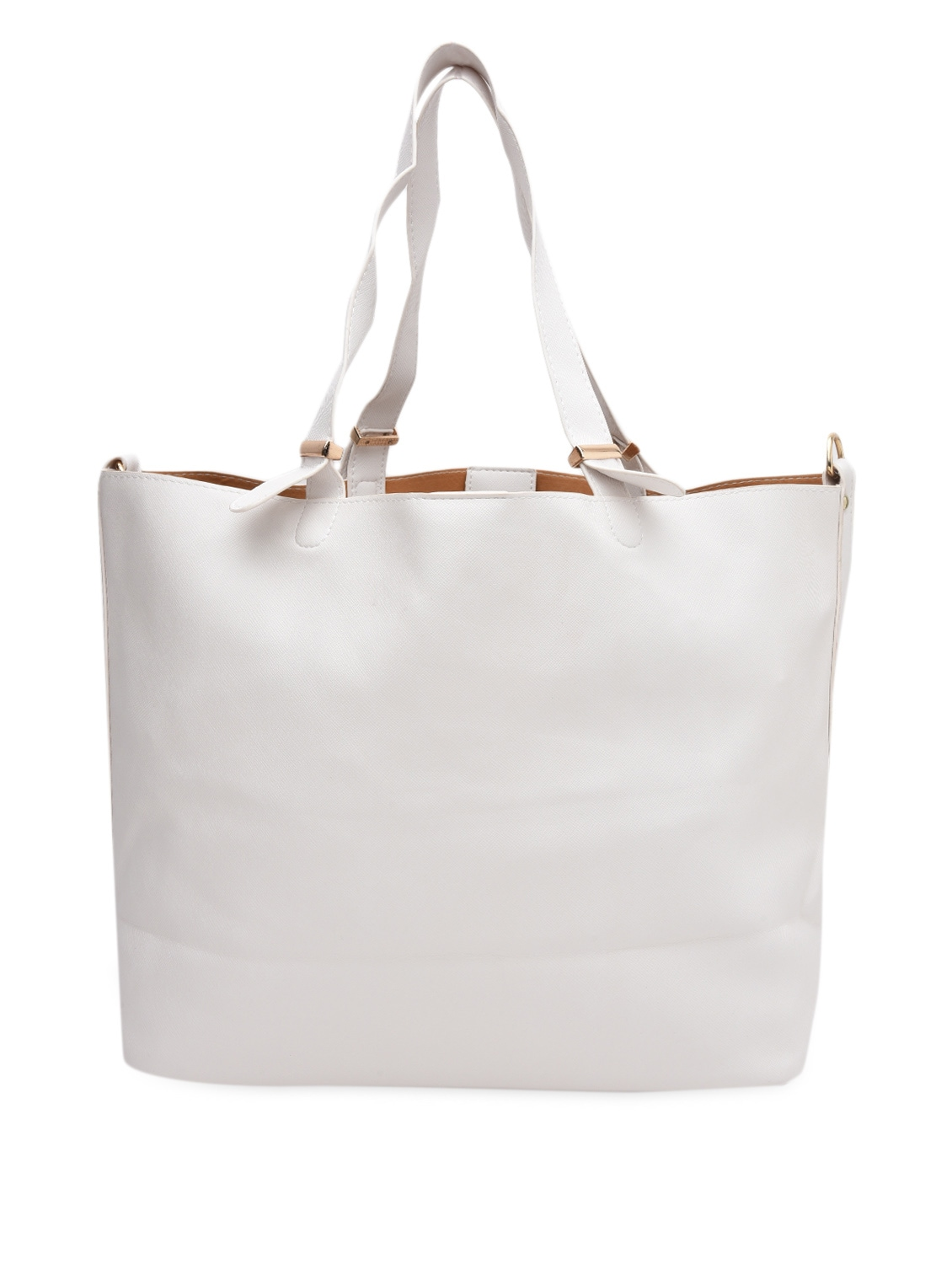 White Faux Leather Tote With Sling Bag - By