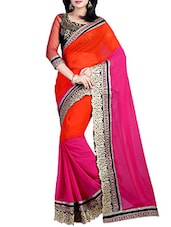 pink color georgette saree -  online shopping for Sarees