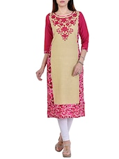 beige and pink rayon straight kurta -  online shopping for kurtas