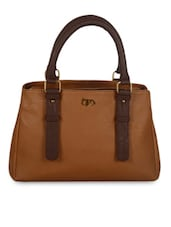 Tan Brown Leatherette Tote Handbag - By