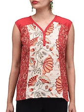 Floral Printed Red Cotton Top - By