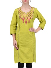 Green Cotton Kurta With Printed Yoke - By