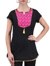 Black Printed Chanderi Cotton Kurti - By