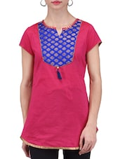 Fuschia Brocade Printed Chanderi Cotton Kurti - By