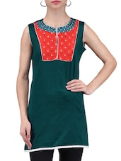 Cerulean Blue Printed Chanderi Cotton Kurti - By