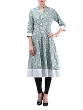 Sap Green Floral Printed Cotton Anarkali Kurti - By