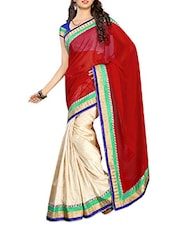 Red With Cream Chiffon Saree With Blouse Piece - By