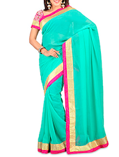 Rama Green Chiffon Emboridered Saree - By