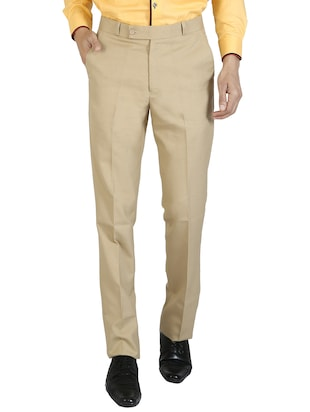 beige cotton flat front trousers formal -  online shopping for Formal Trousers