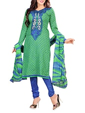 Green Cotton Printed Suit - By
