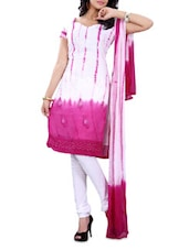 White & Pink Georgette Embroidered Suit - By