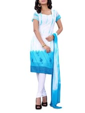 White & Sky Blue Georgette Embroidered Suit - By