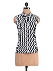 Monochrome Chevron Printed Polyester Dress - By