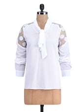 White Neck Tie Polyester Full Sleeved Top - By