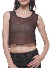Brown Poly Georgette And Satin Crop Top - By
