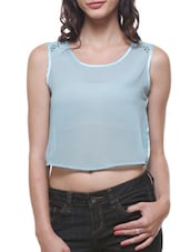 Sky Blue  Poly Georgette And Satin Crop Top - By