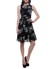 Black Poly Chiffon Printed Dress - By