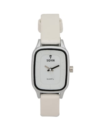 WHITE LEATHER STRAP RECTANGLE ANALOG WATCH -  online shopping for Wrist watches