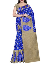 blue silk woven saree -  online shopping for Sarees