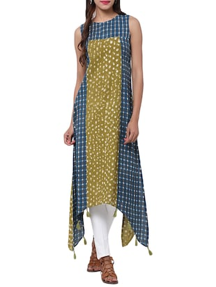 Olive cotton asymmetric kurta -  online shopping for kurtas