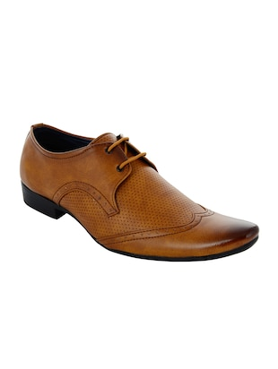 brown Leatherette lace up derby -  online shopping for Derbies