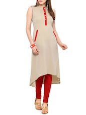 Beige Crepe Highlow Kurta - By