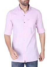 pink cotton checked casual shirt -  online shopping for casual shirts