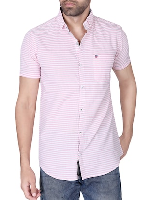 pink cotton striped casual shirt -  online shopping for casual shirts