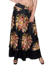 black floral printed rayon wrap skirt -  online shopping for Skirts