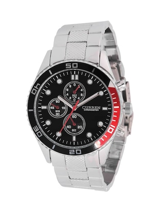 CURREN Men's Black Dial Silver Metal Strap Analog Wrist Watch -  online shopping for Analog Watches