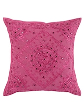 Rajrang Embroidered With Mirror Work Geometric Pattern Cotton 16 X 16 Single Cushion Cover - By