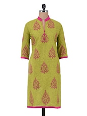Brown Cotton Block Printed Kurti - By