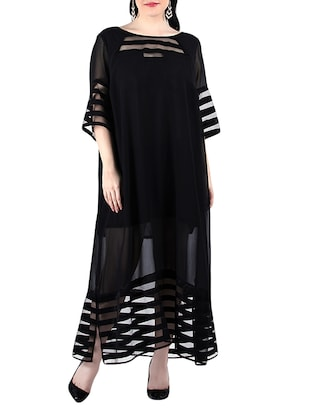 black georgette maxi dress -  online shopping for Dresses