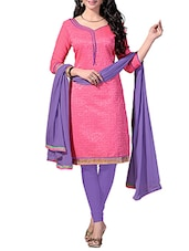 pink Cotton Blend straight unstitched suit -  online shopping for Unstitched Suits