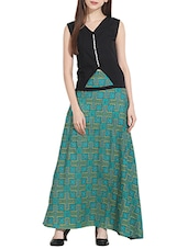 Black cotton top and green skirt set -  online shopping for Sets