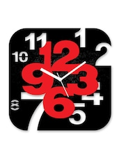 Black And Red Square Wall Clock - By